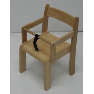 Chaise en bois avec accoudoirs et ceinture