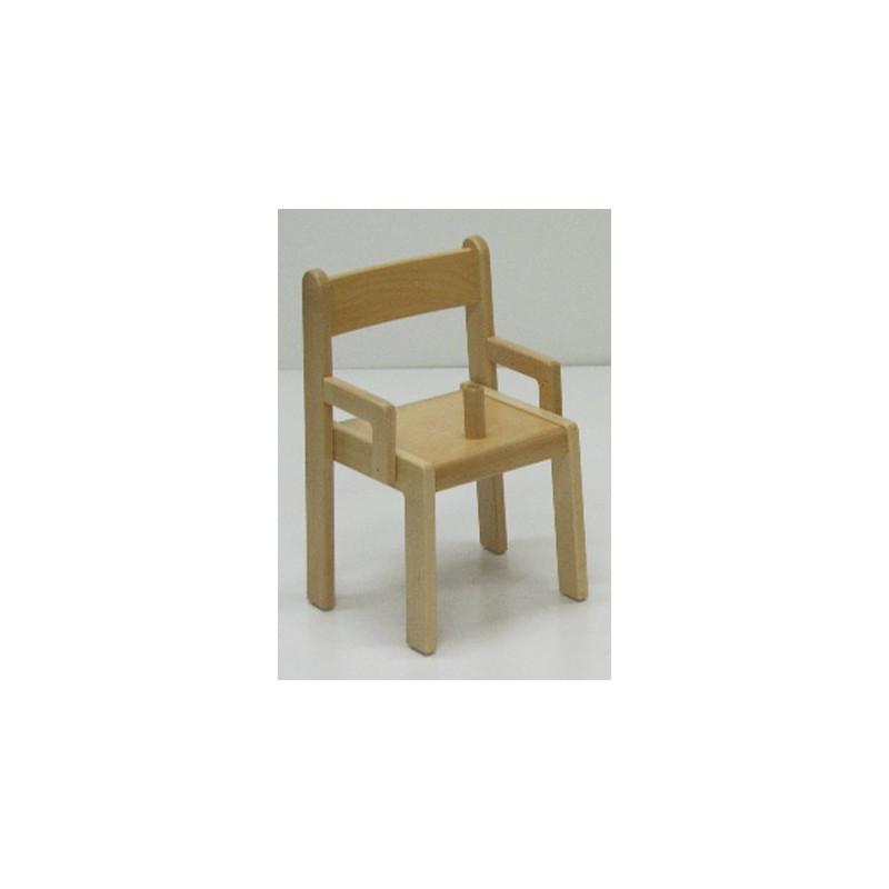Chaise en bois avec accoudoirs et entre-jambes
