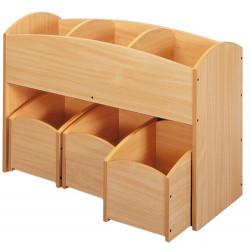 1 bac à livres 3 cases + 1 lot de 3 bacs à livres 1 case - Offre