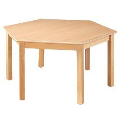 Table hexagonale en bois, diam. 120 cm