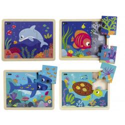 4 puzzles 6 pièces - Les animaux de la mer